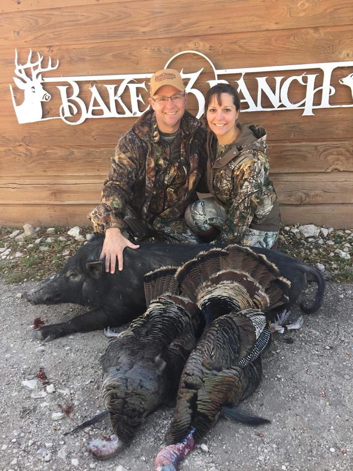 Couple enjoying turkey hog hunt